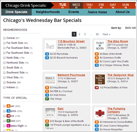 Bar Native Screenshot of Specials Search