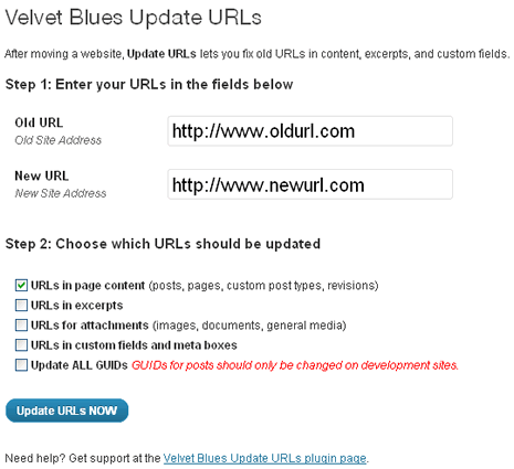 Velvet Blues Update URLs WordPress Plugin